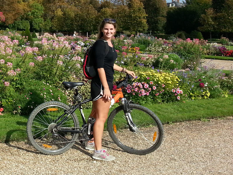 rambouillet chateau garden flowers picture cyclist